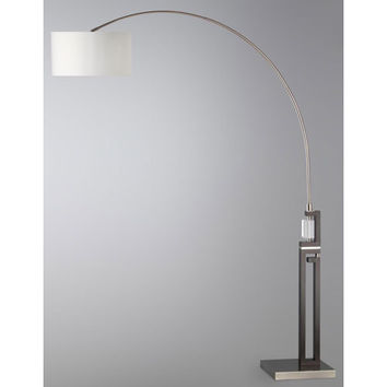 NOVA Lighting 2110462 Ice Brushed Nickel and Dark Brown One-Light Arc Lamp with White Shade