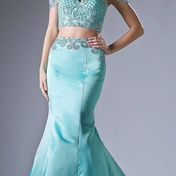 Two-Piece Long Prom Dress Beaded Crop Top Mint