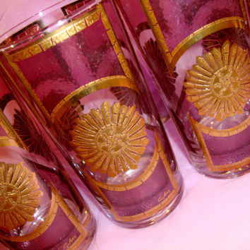 Culver Glassware hard to find Plum and GOLD Sunburst Vintage tumblers