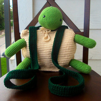 Crochet Amigurumi Turtle Backpack/Pouch