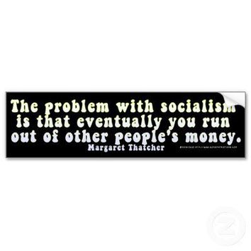 The Problem With Socialism (Hippy) Bumper Sticker from Zazzle.com