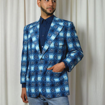 Men's Funky Blue Sport Coat,  Hawaiian Print Sport Coat, 60's Sport Coat, Don Ho, Lounge Sport Coat, Club Sport Coat, Hipster Blazer