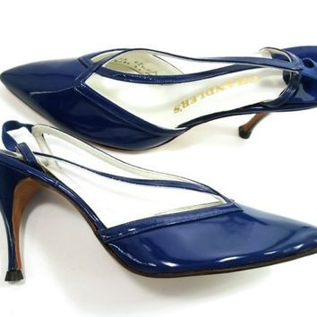 NOS Vintage Shoes Blue Patent Leather Spike Heel Navy French Room 8.5