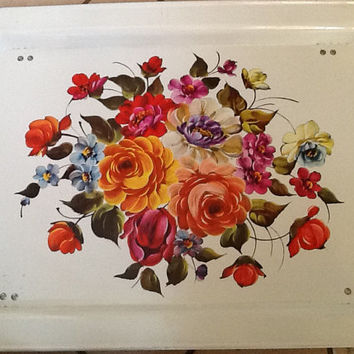 Vintage white floral tole TV or Lap folding tray with wonderful flowers - Great condition