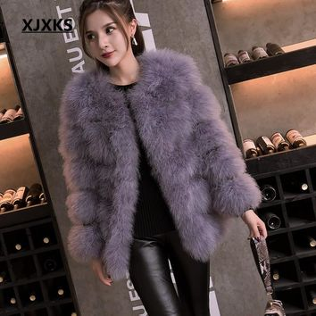 2018 autumn and winter long section of thick round neck Slim thin ostrich hair real Ostrich feather coat Women winter jacket