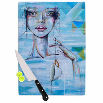 "Kira Crees ""Alice"" Blue Multicolor People Painting Cutting Board"