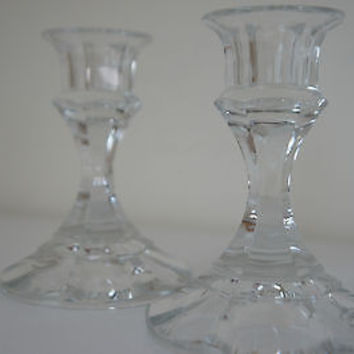 "VINTAGE 24% Full Lead Crystal ""Melt Your Heart"" Candle Holders, RARE, MADE USA"