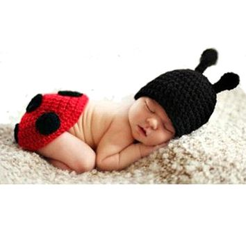 Baby Newborn Photography Props Accessories Cute Ladybug Knitted Handmade Crochet Ladybird Photo Props Baby Hat Caps