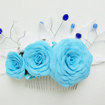 Baby blue accessory White and blue hair Comb for the bride Beach wedding Flower hair comb Blue rose hair Blue hair comb Stylish accessory