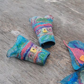 Felted Mittens Nuno Felted cuffs felt bracelet  merino wool silk blue pink green purple  felted art felt jewelry winter accessories