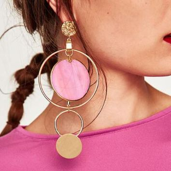 E0367 Korean Style Asymmetric Earrings Gold Color Big Hollow Round Circle Long Drop Earrings For Women Fashion Ear Jewelry Gift