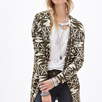 FOREVER 21 Tribal Pattern Cardigan Olive/Cream