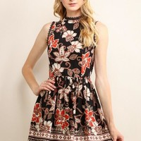 Floral Cut Out Sleeves High Neck Dress