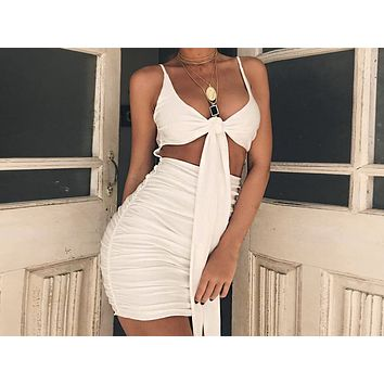 Fashion Sell Black-and-White Sexy Show Back Bandage Bag Hip Fold Suspended Dresses