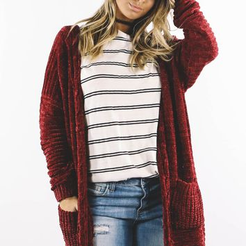 New Romantics Burgundy Chenille Cardigan