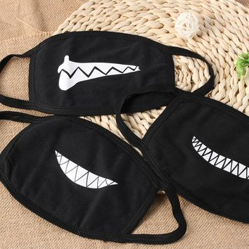 1PC NEW Unisex Cartoon Funny Teeth Mouth Black Cotton Half Face Mask Hot Makeup Tools
