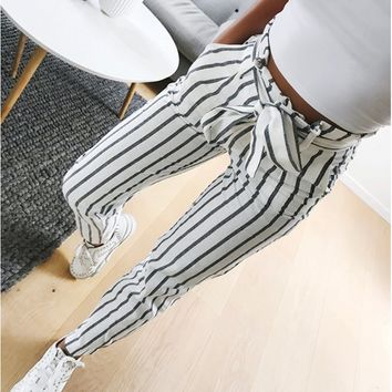 2018 Fashion Women Skinny Trouser Vertical Striped Long Jeans Ladies Bowknot