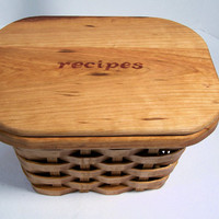 Recipe card box basket 5 x 7 cards  with lid cherry wood scroll saw cut