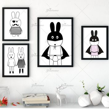 Batman Dark Knight gift Christmas New decorative pictures poster art for kids room baby painting black and white batman/bunny posters and prints Frame not include AT_71_6