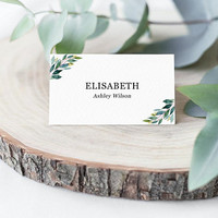 Wedding place cards greenery, Printable editable template PDF, Wedding name cards, Table place cards, Tent, flat personalized place cards
