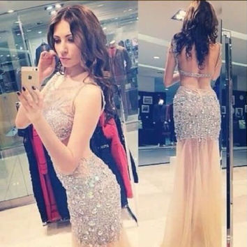 robes de cristal 2017 luxury sexy women prom dresses rhinestones sheer neckline long expensive prom dress in Dubai online