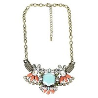 "Women's Statement Necklace with Stones - Multicolor (17"")"