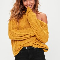 Missguided - Yellow Off Shoulder Slouchy Sweater