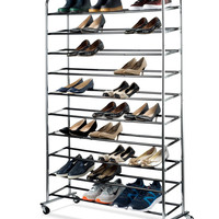 shoe organizer - Chrome shoe storage Supreme 50 Pair Shoe Rack closet shoe organizer