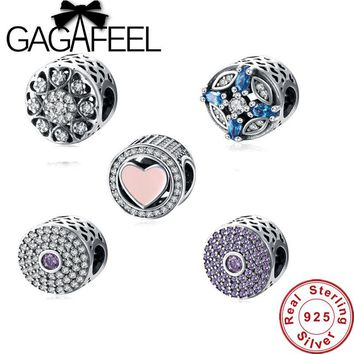 GAGAFEEL 100% Real 925 Sterling Silver Dasiy Flower Crystal Charm Fit Original Pandora Bracelet Necklaces Authentic Jewelry Bead