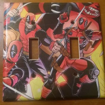 Deadpool Comic Book superhero decoupage light switch cover double toggle