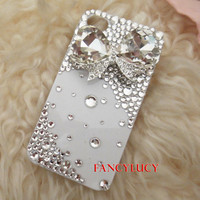 3d iphone case iphone 4 case iphone cover iphone case crystal iphone 4 bling case white case crystal diamond bow iphone case