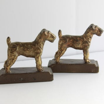 Armor Brass Airedale Terrier Bookends, Vintage Brass Bookends, Dog Figure, Brass Clad Bookends