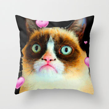 Misunderstood - Grumpy Cat Tribute  Throw Pillow by Sharon Cummings