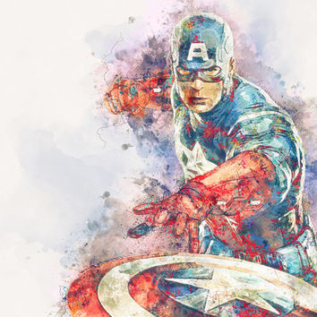 Captain America Poster Watercolor Art Print -  avengers home decor nursery wall decor superhero avengers civil war wall art poster
