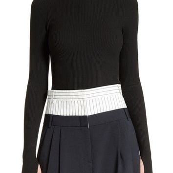 Tibi Lace-Up Scoop Back Pullover | Nordstrom