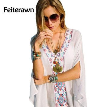 CREY8UV Feiterawn 2017 Batwing Sleeves Loose Fit Tunic Beach Dress Embroidered Sexy V Neck Flowy White Beach Cover Up Kaftan DL42167