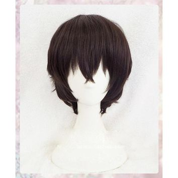 New Arrival Anime Bungo Stray Dogs Dazai Osamu Short Brown Curly Hair Heat Resistant Cosplay Costume Wig + Track + Cap