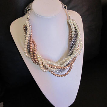 Pearl Wedding Necklace, Chunky Multistrand Necklace, Bridesmaid Necklace, Statement Pearl Necklace, Ivory, Bronze Champagne & Grey