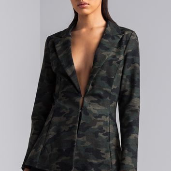 AKIRA Long Sleeve Notched Lapel Flared Fit Blazer in Camo