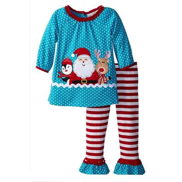 Winter New Years Outfit Kids Girls Fashion Christmas outfit Thanksgiving day suit santa tree cartoon patternDT0358