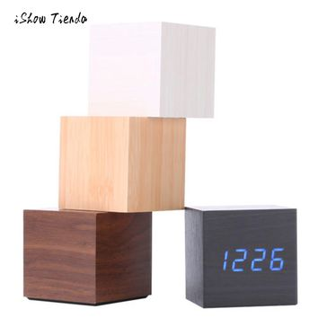 Wooden Cube LED Alarm Clock & Thermometer