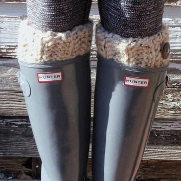Chunky OATMEAL BOOT CUFFS Leg Warmers Hunter Boot Warmers Socks Acrylic and Lamb's Wool Gift for Her