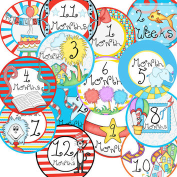 14 Dr Suess Inspired Lorax Truffula Trees Unisex Neutral Baby Monthly Milestone Onesuit Stickers Newborn Shower Gift
