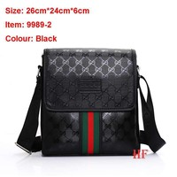 Gucci Men Leather Office Bag Satchel Shoulder Bag Crossbody G-MYJSY-BB