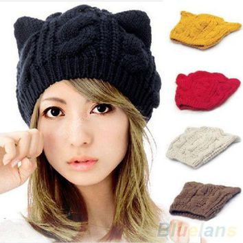 LMFUNT Women's Winter Knit Crochet Braided Cat Ears Beret Beanie Ski Knitted Hat Cap  1QEW 4BTT