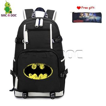 Anime Backpack School Batman Bruce Logo Printed Canvas Backpack Womens Mens Daily Backpack Teens Students School Laptop Bags Travel Rucksack Case Gift AT_60_4