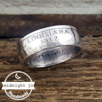 Louisiana 90% Silver State Quarter Coin Ring