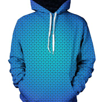 Psychedelic Blue Fade Pattern Hoodie