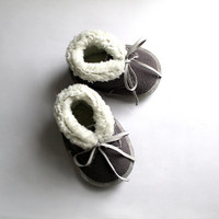 Gray White Baby Booties Fake Fur Pelt Infant Newborn Nursery Children Leather Ribbon