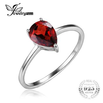 JewelryPalace Pear 1.4ct Natural Red Garnet Birthstone Solitaire Ring 925 Sterling Silver 2016 New Fashion Jewelry For Women